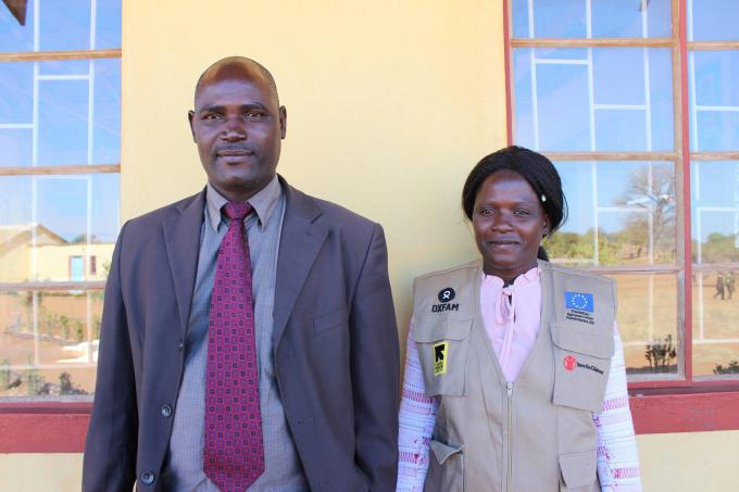 Edson Ncengani the School headmaster at Malala Primary school, and Terezia Hwande the Disaster Rist Reduction focal teacher at the school