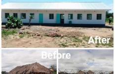 Photo collage shows an unfinished structure, makeshift classroom and a modern block recently completed by Save the Children