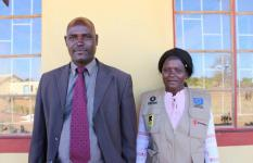 From left: Edson Ncengani the School headmaster at Malala Primary school, and Terezia Hwande the Disaster Rist Reduction focal teacher at the school